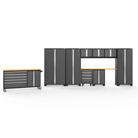 Newage Products Bold 3.0 Series 10 PC Set 50514 Charcoal Gray / Bamboo / None Garage Storage Cabinets Bold 3.0