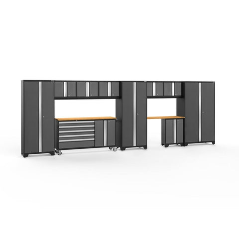 Newage Products Bold 3.0 Series 11 PC Set 50512 Charcoal Gray / Bamboo / None Garage Storage Cabinets Bold 3.0