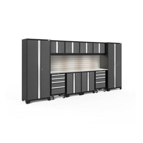 Newage Products Bold 3.0 Series 12 Pc Set 56019 Gray Doors With Stainless Steel Top / Led Light With Slatwall Backsplash Garage Storage
