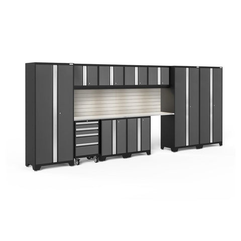 Newage Products Bold 3.0 Series 12 Pc Set 56055 Gray Doors With Stainless Steel Top / Led Light With Slatwall Backsplash Garage Storage