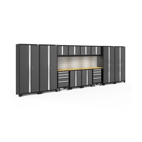 Newage Products Bold 3.0 Series 14 Pc Set 56136 Gray Doors With Bamboo Top / Led Light With Slatwall Backsplash Garage Storage Cabinets Bold