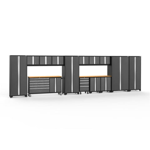 Newage Products Bold 3.0 Series 15 PC Set 50520 Charcoal Gray / Bamboo / None Garage Storage Cabinets Bold 3.0