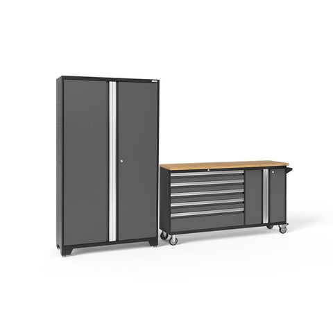 Newage Products Bold 3.0 Series 2 PC Set 50500 Charcoal Gray / Bamboo / None Garage Storage Cabinets Bold 3.0