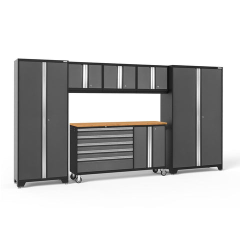 Newage Products Bold 3.0 Series 6 PC Set 50502 Charcoal Gray / Bamboo / None Garage Storage Cabinets Bold 3.0