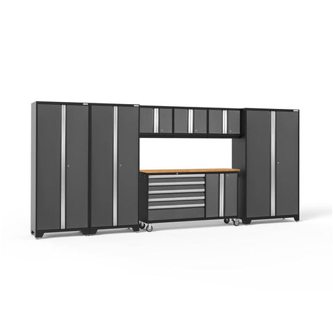 Newage Products Bold 3.0 Series 7 Pc Set 50506 Charcoal Gray / Bamboo / No Light Garage Storage Cabinets Bold 3.0