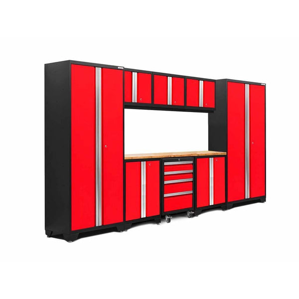 Newage Products Bold 3.0 Series 9 PC Set 50608 Deep Red / Bamboo / None Garage Storage Cabinets Bold 3.0