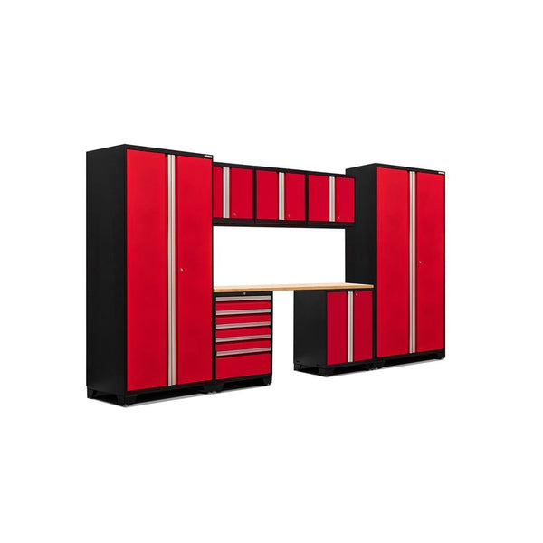 Newage Products Pro 3.0 Series 8 PC Set 51107 Deep Red / Bamboo / None Garage Storage Cabinets Pro 3.0