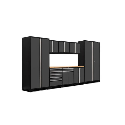 Newage Products Pro 3.0 Series 9 PC Set 52066 Charcoal Gray / Bamboo / None Garage Storage Cabinets Pro 3.0