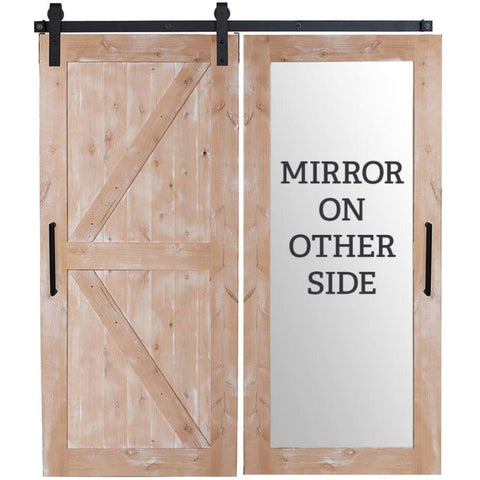 Rustica 3.6 ft. width x 8 ft. height Stable Mirror Barn Door with Hardware Kit Rustica Barn Doors