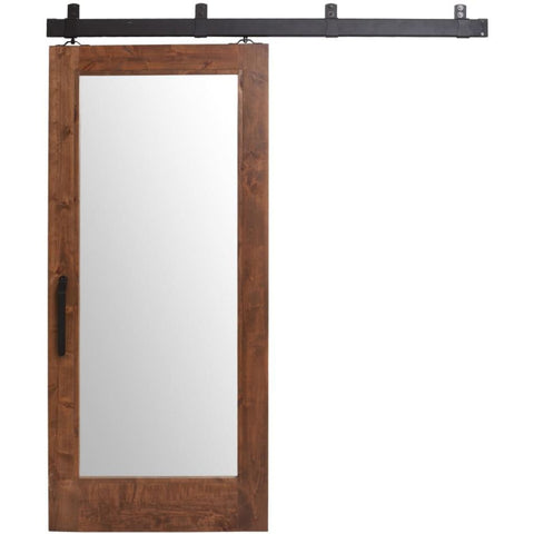 Rustica 3.6 ft. width x 8 ft. height Two Panel Mirror Barn Door with Hardware Kit Rustica Barn Doors