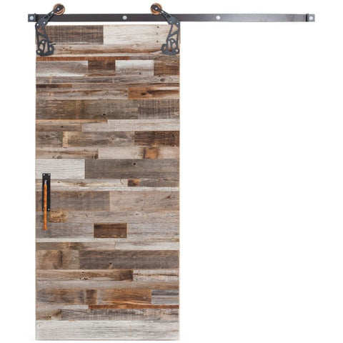 Rustica 3 ft. width x 7 ft. height Barn Wood Reclaimed Barn Door with Hardware Kit Rustica Barn Doors