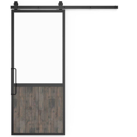 Rustica 3 ft. width x 7 ft. height Chalet Barn Door with Hardware Kit and Left Hand Pull Rustica Barn Doors