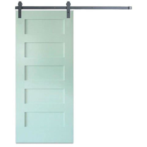 Rustica 3 ft. width x 7 ft. height Contemporary 5 Panel Barn Door with Hardware Kit Rustica Barn Doors