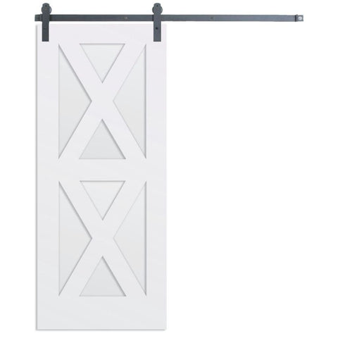 Rustica 3 ft. width x 7 ft. height Contemporary Double X Barn Door with Hardware Kit Rustica Barn Doors