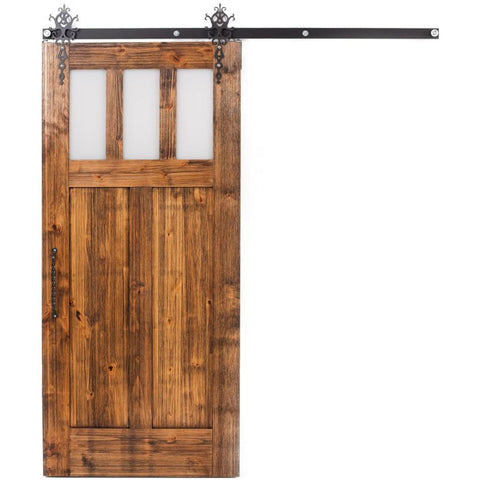 Rustica 3 ft. width x 7 ft. height Craftsman Barn Door with Hardware Kit Rustica Barn Doors