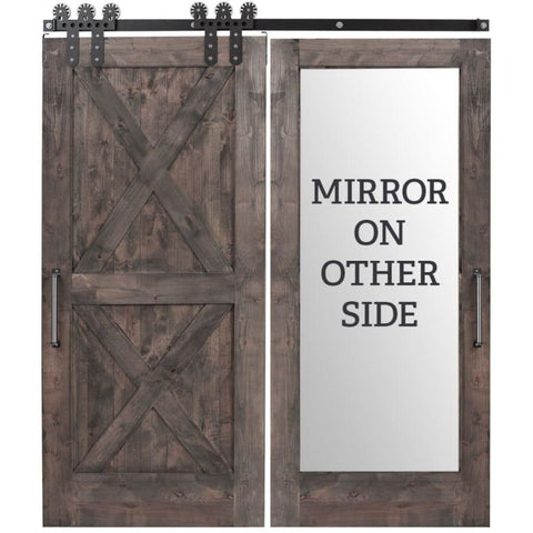 Rustica 3 ft. width x 8 ft. height Double X Mirror Barn Door with Hardware Kit Rustica Barn Doors