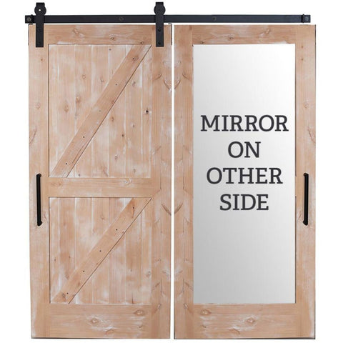 Rustica 3 ft. width x 8 ft. height Dutch Z Mirror Barn Door with Hardware Kit Rustica Barn Doors