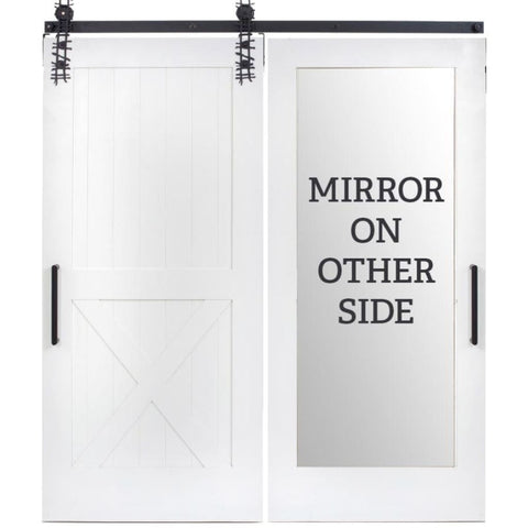 Rustica 3 ft. width x 8 ft. height Half X Mirror Barn Door with Hardware Kit Rustica Barn Doors
