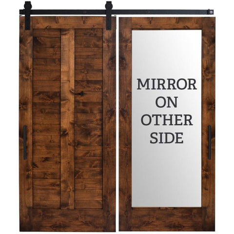 Rustica 3 ft. width x 8 ft. height Heartland Mirror Barn Door with Hardware Kit Rustica Barn Doors