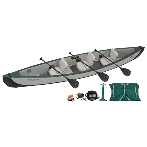 Sea Eagle Travel Canoe 16 Inflatable Canoe 3 Person Electric Pump Package TC16K_EP3 Sea Eagle Travel Canoes