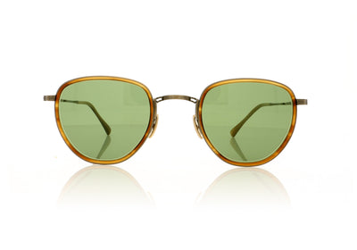 Mr. Leight Roku S ML4009-47-BW-ATG-BW/GRNGLSS Beachwood-Antique Gold-Beachwood Gold Sunglasses