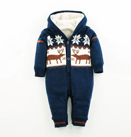 Baby Warm Thick Winter Knitted Sweater Rompers Newborn Boys Girls
