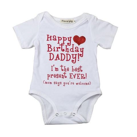Newborn Baby Clothes Letter Printed Short Sleeve Cotton Baby Rompers