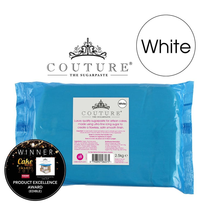 Couture 2.5kg / 5½lb WHITE luxury sugarpaste ready to roll fondant icing