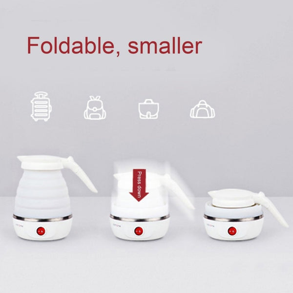 Electric Kettle 0.6 L Silicone Foldable 850 W Portable Travel Camping Water Boiler