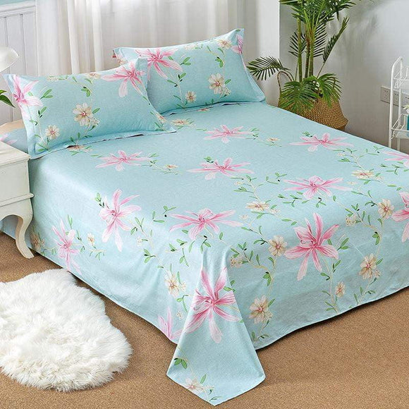 100% Cotton 3pcs Bed Sheets Pillowcase Bed Linen Blue Petal Printing Pattern Multi-Size