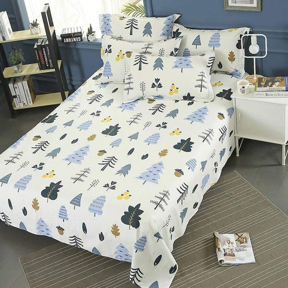 100% Cotton 3pcs Bed Sheets Pillowcase Bedding White Small Forest Prints Multi-Size