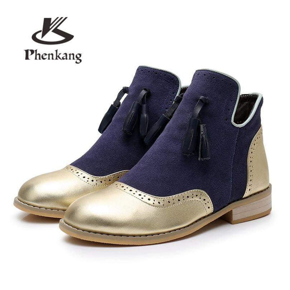 100% Genuine cow Leather women Ankle Boots shoes round toe elastic band Handmade 2018 lady winter boots with fur