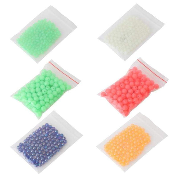 100 Pcs/Bag Fishing Beads Night Luminous Plastic Float Tackle Stoppers Glow Sea Beads Fishing Tools
