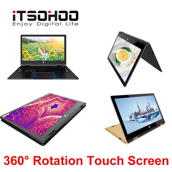 Laptop 11.6 inch 2 in 1 Touch Screen IPS 320GB Ultrabook 5G Wifi 360 Degree Slim Mini Notebook Computer