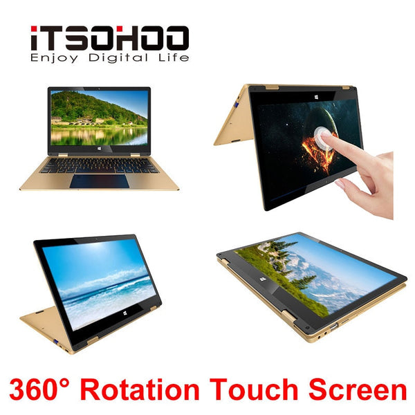 Laptop 11.6 inch touchscreen iTSOHOO 360 degree rotating laptops intel Notebook computer