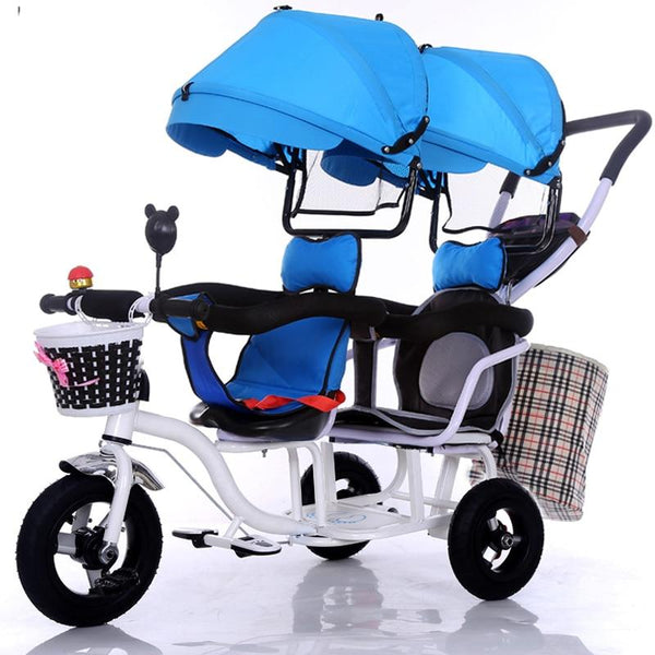 Tricycle twins baby bicycle Stroller double seat 2 kids tandem with fold pedal & arm rest - inaaz.biz