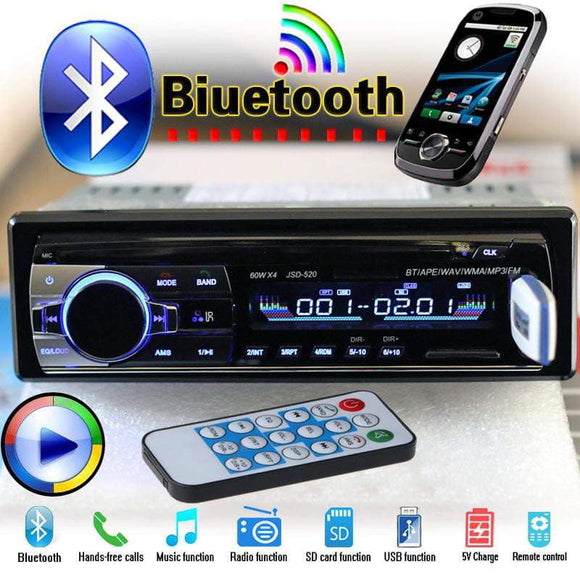 12V Bluetooth Car Radio Player Stereo FM MP3 Audio 5V-Charger USB SD AUX  1 DIN NO DVD JSD