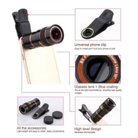 8x Zoom Portable Mobile Phone Telephoto Camera Lens and Clip - inaaz.biz