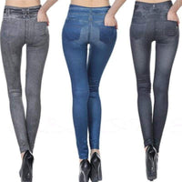 Short-Staple Imitation Denim Tight Pants Leggings