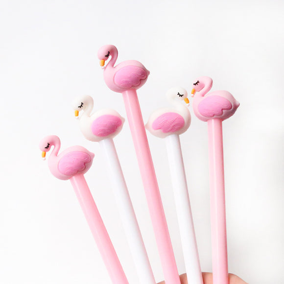 2 pcs/lot 0.5mm Creative Flamingo Swan Gel Pen Signature Pen Escolar Papelaria School Office stationery Supply Promotional Gift