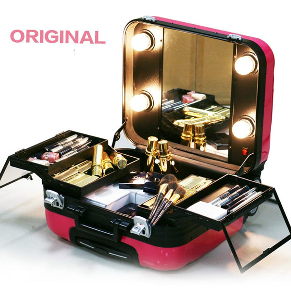 Cosmetic Bag Hardside Women Travel Makeup Bags with Light, New ABS Trolley Travel Suitcase with Mirror