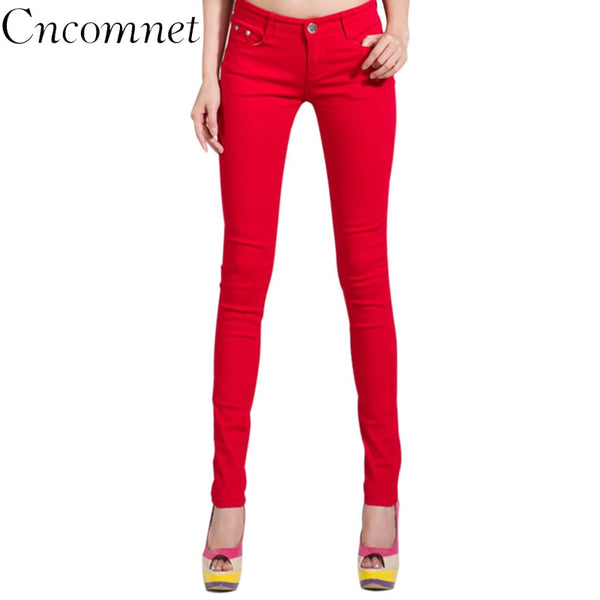 Women Pencil Pant New Autumn Jeans Candy Colored Mid Waist Full Length Zipper Skinny Women Pants