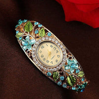 2017 Hot Sell Girl Ladies Gorgeous New Bangle Watches Crystal Flower Bracelet Watch Women Fashion Quartz Alloy Wristwatches LL - inaaz.biz
