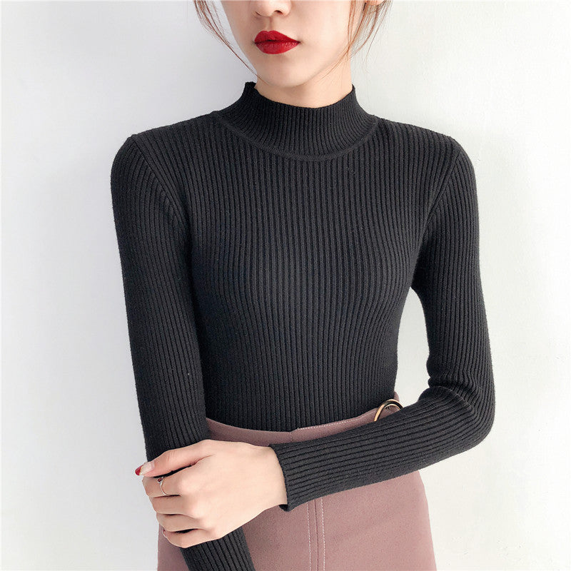 Knitted Women Top Autumn Winter Long Sleeve Slim Elastic Turtleneck High Neck Womens Sweaters Pullover Jumper Sweater Blouses & Shirts