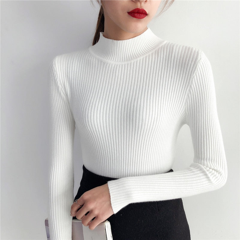 c0ddd522a6 ... 2018 Autumn Winter Women Pullovers Sweater Knitted Elasticity Casual Jumper  Fashion Slim Turtleneck Warm Female Sweaters ...