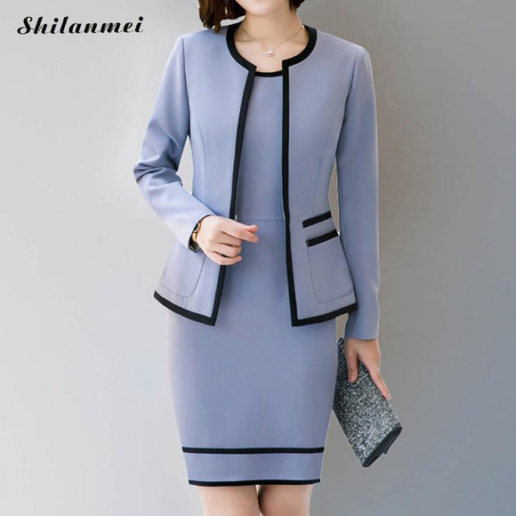 2018 Business Women Pencil Dress Suits winter autumn Skyblue Blazer + Pencil dress Office Lady Notched Jacket Female Outfits