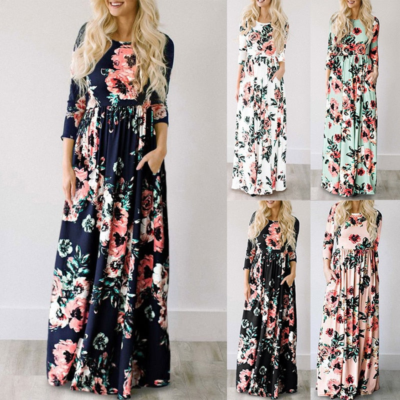 49b3ea83045e2 2019 Summer Long Dress Floral Print Boho Beach Dress Tunic Maxi Dress Women  Evening Party Dress Sundress Vestidos de festa XXXL 1