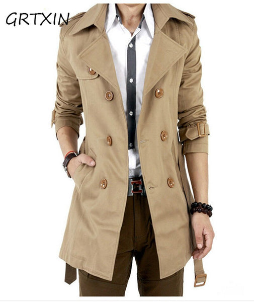 Men Trench Coat Classic Double Breasted Long  Coat Long Jackets British Style Overcoat