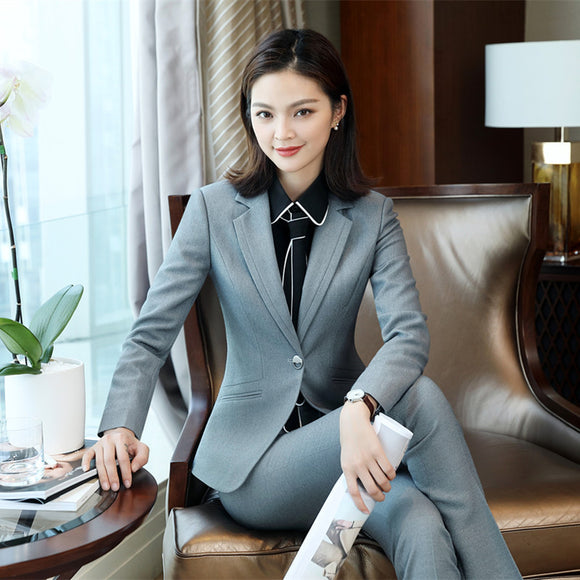 2019 Winter Formal Elegant Women's Blazers Trouser Suits office Ladies Lady pants and blazer Jacket 2 Piece suits office sets