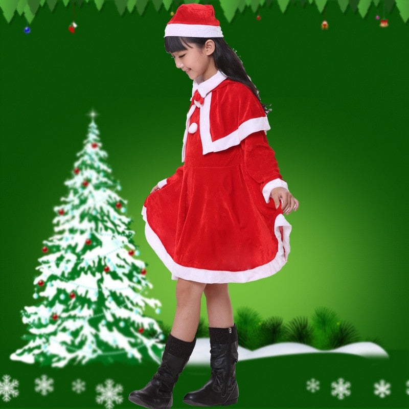 c43182ce1870a 2018 baby girls boys Santa Claus clothing set hat for children polyester  red kids christmas costume dress clothes suit FH538